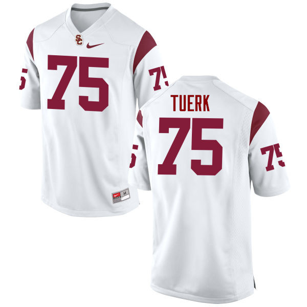 Men #75 Max Tuerk USC Trojans College Football Jerseys-White