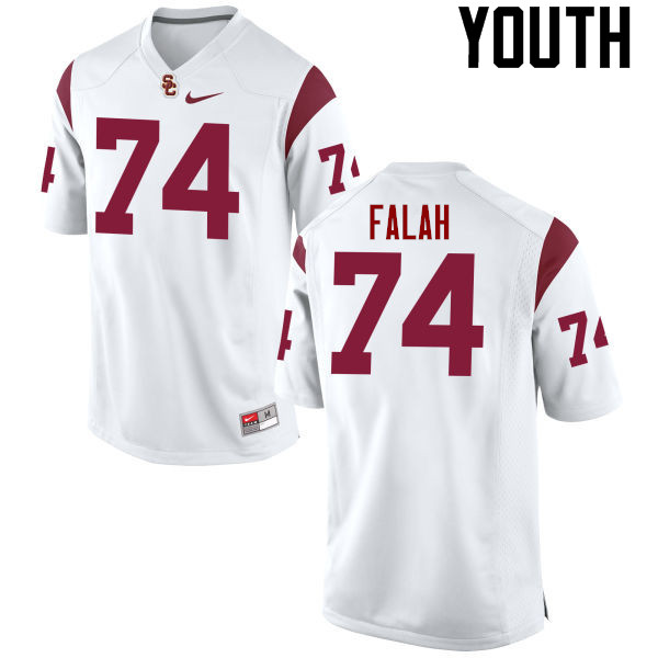 Youth #74 Nico Falah USC Trojans College Football Jerseys-White