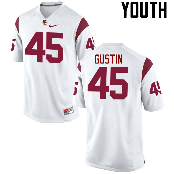 Youth #45 Porter Gustin USC Trojans College Football Jerseys-White
