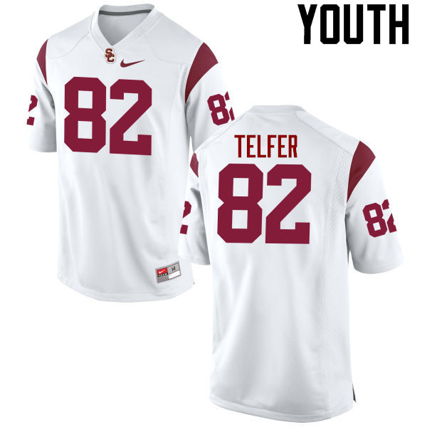 Youth #82 Randall Telfer USC Trojans College Football Jerseys-White