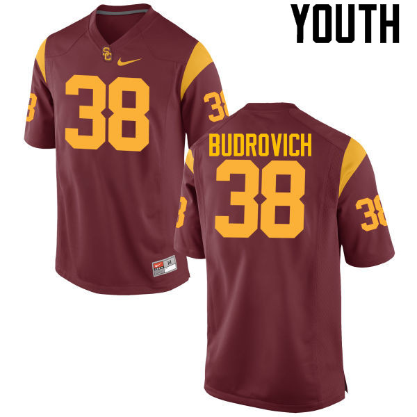 Youth #38 Reid Budrovich USC Trojans College Football Jerseys-Cardinal