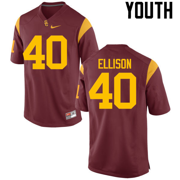 Youth #40 Rhett Ellison USC Trojans College Football Jerseys-Red