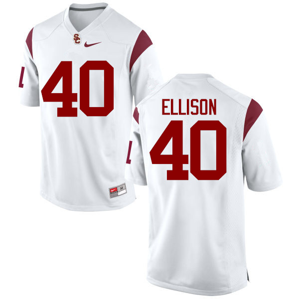 Men #40 Rhett Ellison USC Trojans College Football Jerseys-White