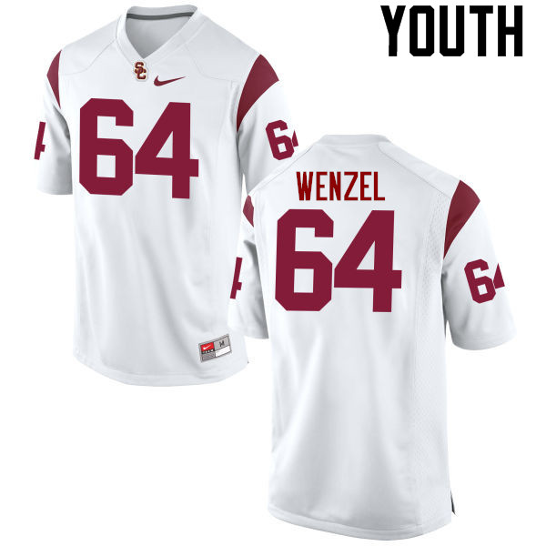 Youth #64 Richie Wenzel USC Trojans College Football Jerseys-White