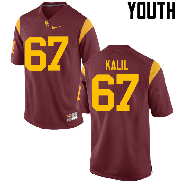 Youth #67 Ryan Kalil USC Trojans College Football Jerseys-Red