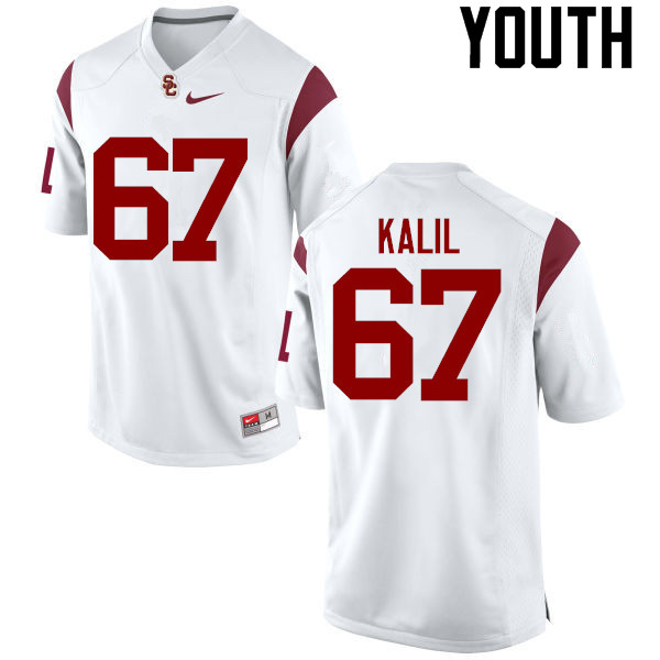 Youth #67 Ryan Kalil USC Trojans College Football Jerseys-White