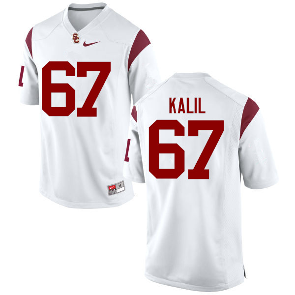 Men #67 Ryan Kalil USC Trojans College Football Jerseys-White