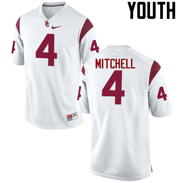 Youth #4 Steven Mitchell Jr. USC Trojans College Football Jerseys-White