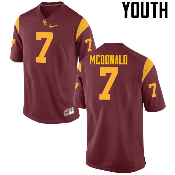 Youth #7 T.J. McDonald USC Trojans College Football Jerseys-Red