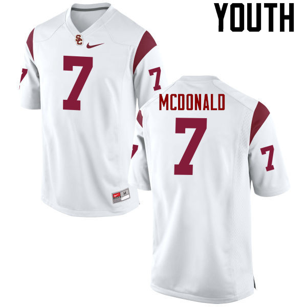 Youth #7 T.J. McDonald USC Trojans College Football Jerseys-White