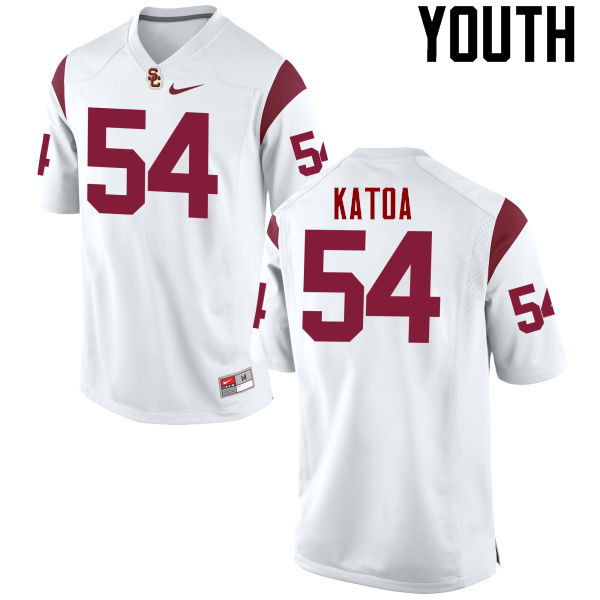 Youth #54 Tayler Katoa USC Trojans College Football Jerseys-White