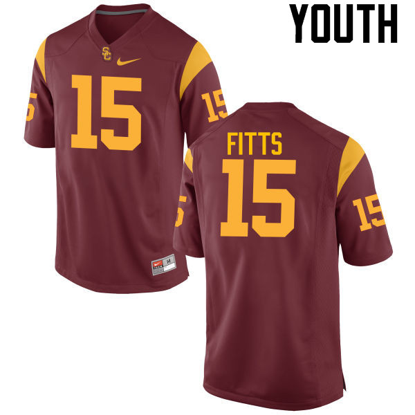 Youth #15 Thomas Fitts USC Trojans College Football Jerseys-Cardinal