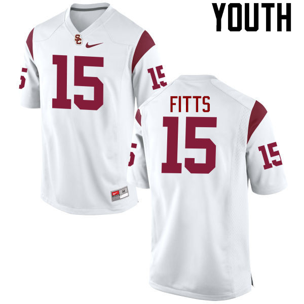 Youth #15 Thomas Fitts USC Trojans College Football Jerseys-White