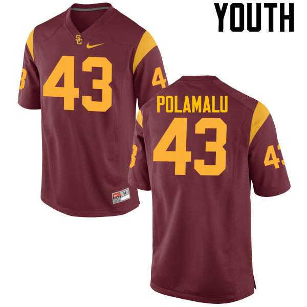 Youth #43 Troy Polamalu USC Trojans College Football Jerseys-Cardinal