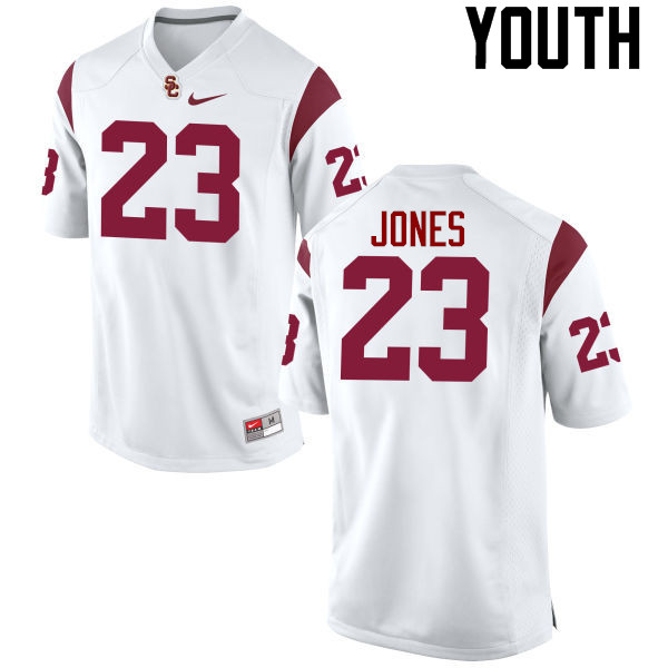 Youth #23 Velus Jones Jr. USC Trojans College Football Jerseys-White