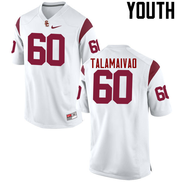 Youth #60 Viane Talamaivao USC Trojans College Football Jerseys-White