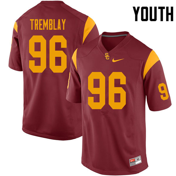 Youth #96 Caleb Tremblay USC Trojans College Football Jerseys Sale-Cardinal