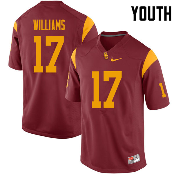 Youth #17 Chase Williams USC Trojans College Football Jerseys Sale-Cardinal