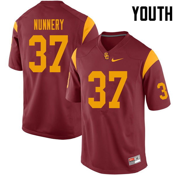 Youth #37 Davonte Nunnery USC Trojans College Football Jerseys Sale-Cardinal