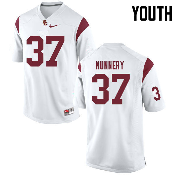 Youth #37 Davonte Nunnery USC Trojans College Football Jerseys Sale-White