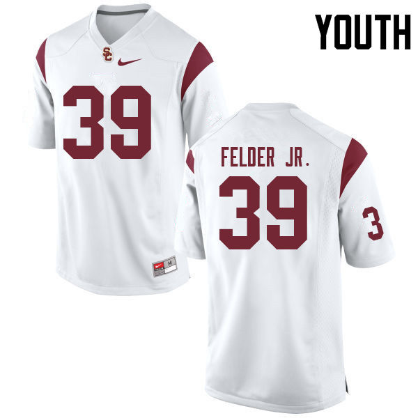 Youth #39 Howard Felder Jr. USC Trojans College Football Jerseys Sale-White