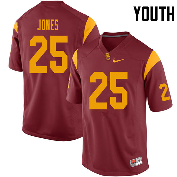 Youth #25 Jack Jones USC Trojans College Football Jerseys Sale-Cardinal