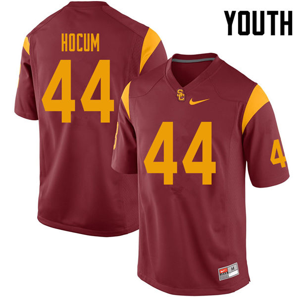 Youth #44 Matthew Hocum USC Trojans College Football Jerseys Sale-Cardinal