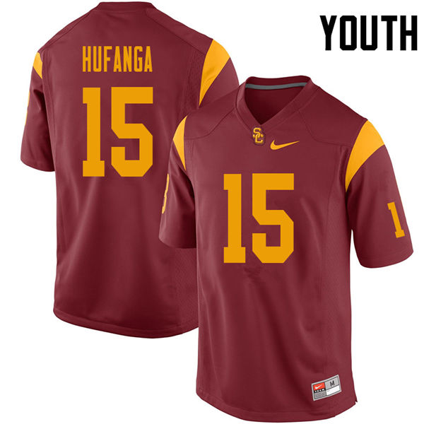 Youth #15 Talanoa Hufanga USC Trojans College Football Jerseys Sale-Cardinal