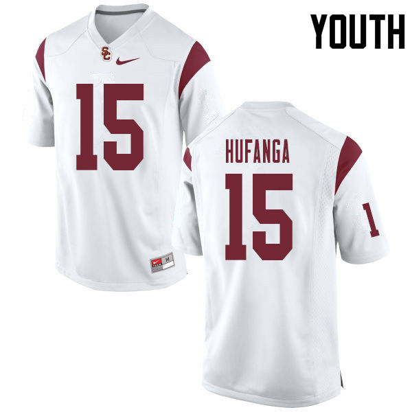 Youth #15 Talanoa Hufanga USC Trojans College Football Jerseys Sale-White