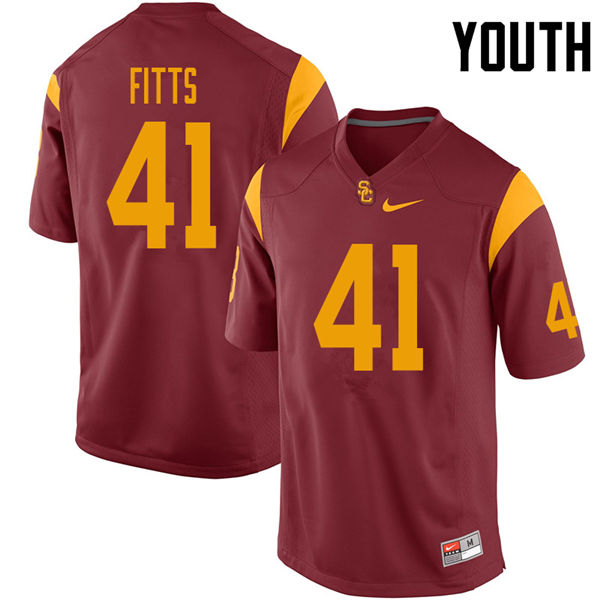 Youth #41 Thomas Fitts USC Trojans College Football Jerseys Sale-Cardinal