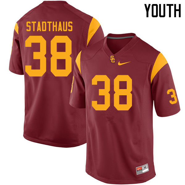Youth #38 Alex Stadthaus USC Trojans College Football Jerseys Sale-Cardinal
