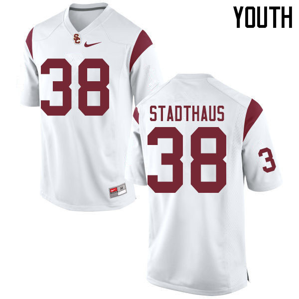 Youth #38 Alex Stadthaus USC Trojans College Football Jerseys Sale-White
