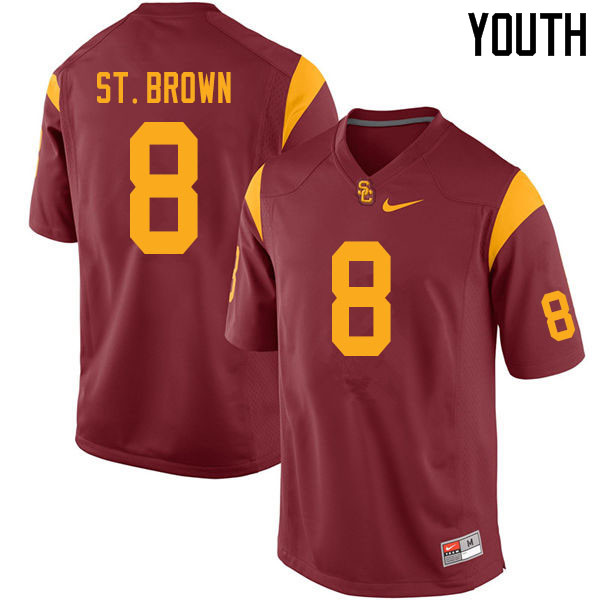 Youth #8 Amon-Ra St. Brown USC Trojans College Football Jerseys Sale-Cardinal
