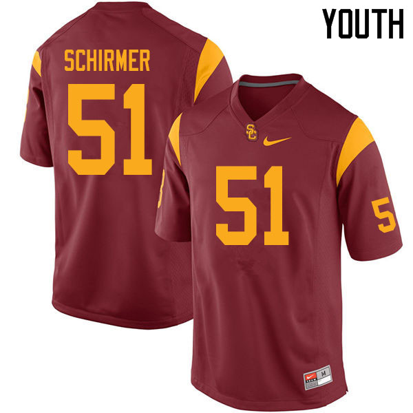 Youth #51 Bernard Schirmer USC Trojans College Football Jerseys Sale-Cardinal