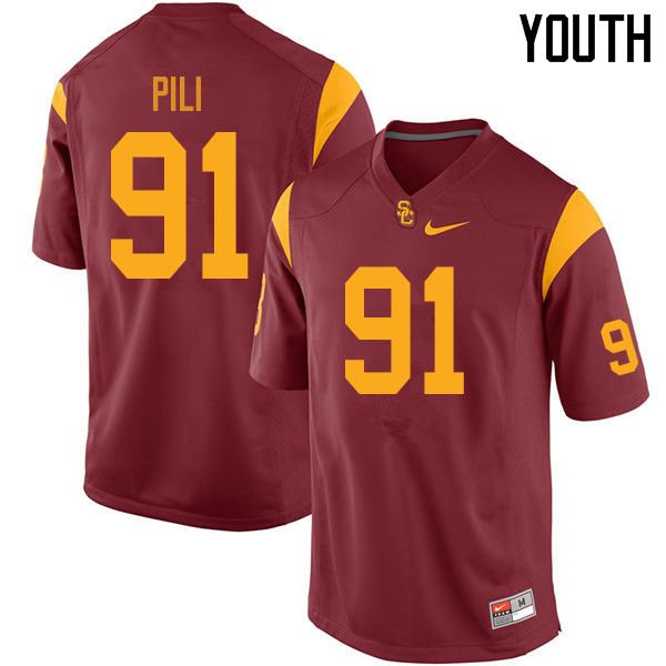 Youth #91 Brandon Pili USC Trojans College Football Jerseys Sale-Cardinal