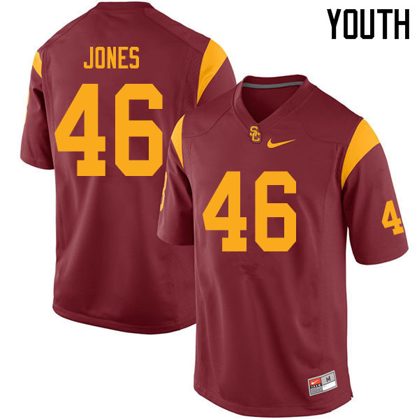 Youth #46 Grant Jones USC Trojans College Football Jerseys Sale-Cardinal