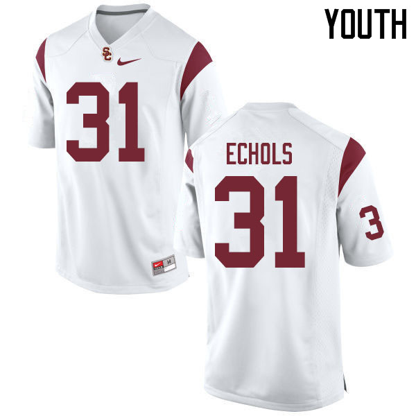 Youth #31 Hunter Echols USC Trojans College Football Jerseys Sale-White