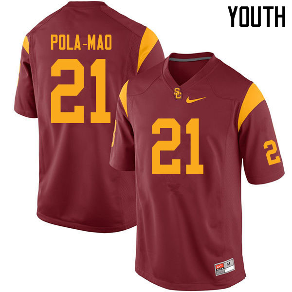 Youth #21 Isaiah Pola-Mao USC Trojans College Football Jerseys Sale-Cardinal