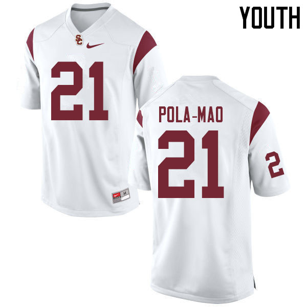Youth #21 Isaiah Pola-Mao USC Trojans College Football Jerseys Sale-White