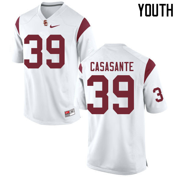 Youth #39 Jac Casasante USC Trojans College Football Jerseys Sale-White