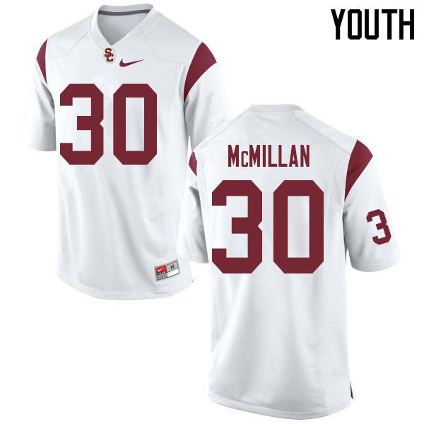 Youth #30 Jordan McMillan USC Trojans College Football Jerseys Sale-White