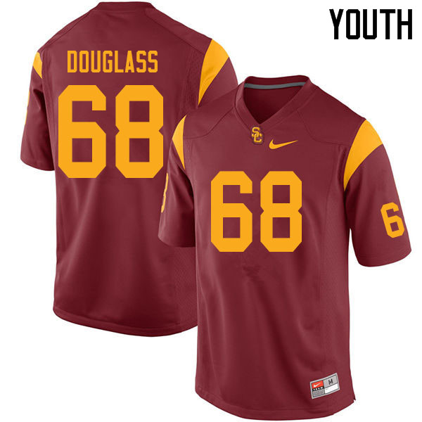 Youth #68 Liam Douglass USC Trojans College Football Jerseys Sale-Cardinal