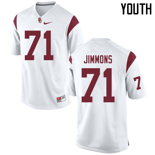 Youth #71 Liam Jimmons USC Trojans College Football Jerseys Sale-White