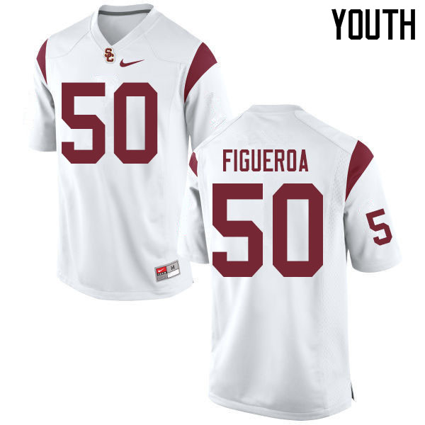 Youth #50 Nick Figueroa USC Trojans College Football Jerseys Sale-White