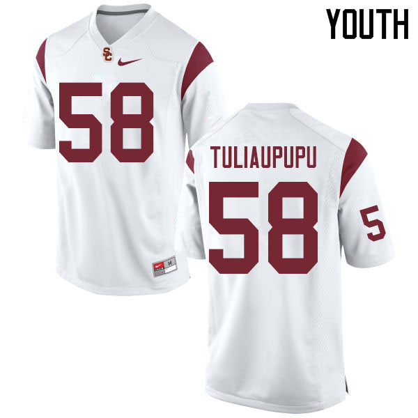 Youth #58 Solomon Tuliaupupu USC Trojans College Football Jerseys Sale-White