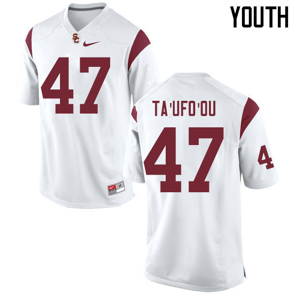 Youth #47 Stanley Ta'ufo'ou USC Trojans College Football Jerseys Sale-White