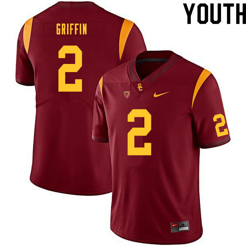 Youth #2 Olaijah Griffin USC Trojans College Football Jerseys Sale-Cardinal
