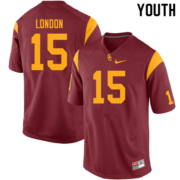 Youth #15 Drake London USC Trojans College Football Jerseys Sale-Cardinal