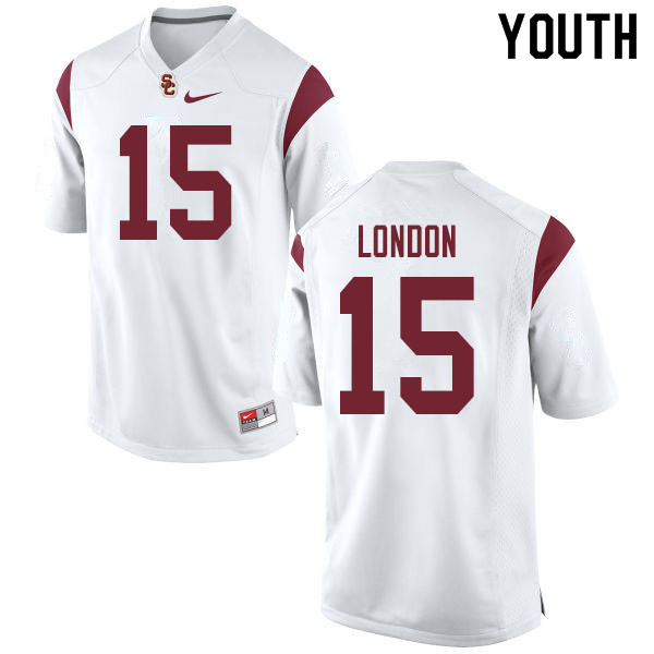 Youth #15 Drake London USC Trojans College Football Jerseys Sale-White