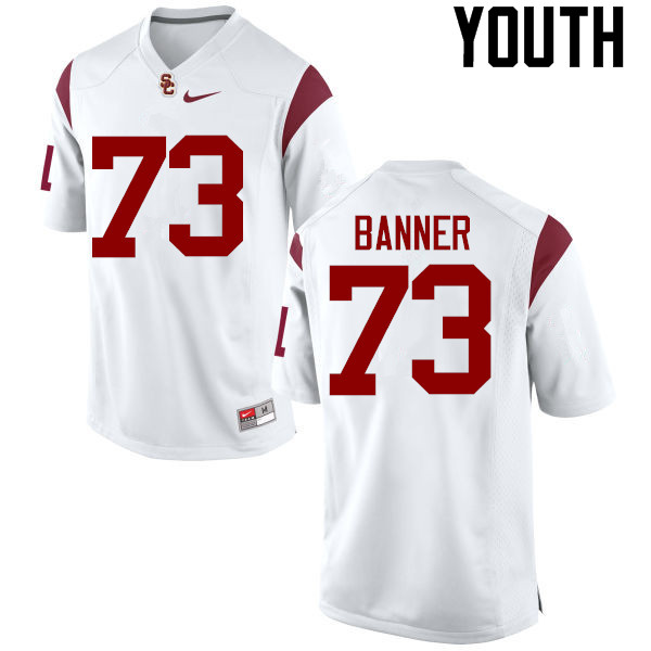 Youth #73 Zach Banner USC Trojans College Football Jerseys-White